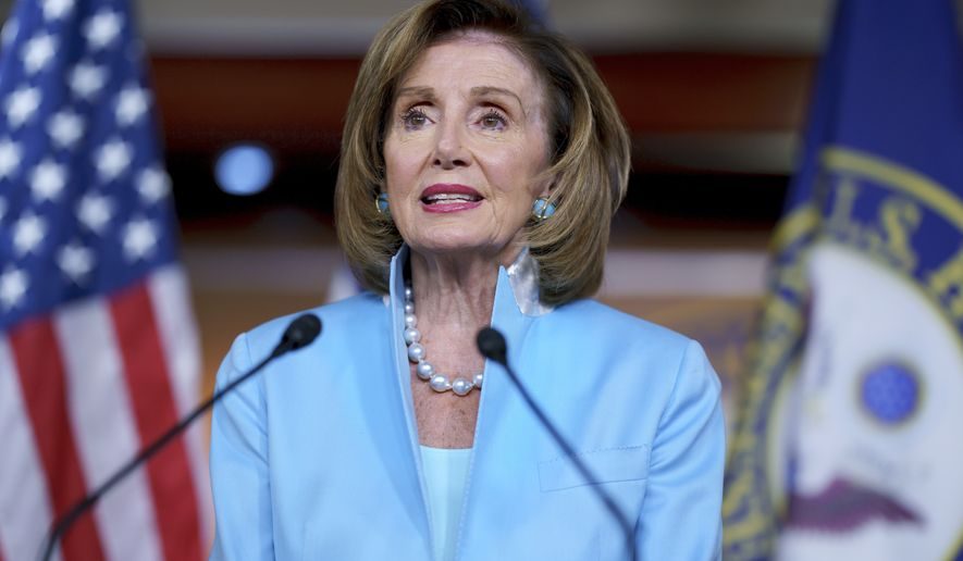 Speaker of the House Nancy Pelosi, D-Calif., meets with reporters at the Capitol in Washington, Friday, Aug. 6, 2021. (AP Photo/J. Scott Applewhite)