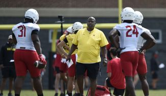 Maryland football head coach Michael Locksley looks on during NCAA college football practice, Friday, Aug. 6, 2021, in College Park, Md.(AP Photo/Gail Burton) **FILE**