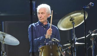 Charlie Watts, of the Rolling Stones, performs during a concert of the group's No Filter Europe Tour at U Arena in Nanterre, outside Paris, France, on Oct. 22, 2017. (AP Photo/Michel Euler, File)