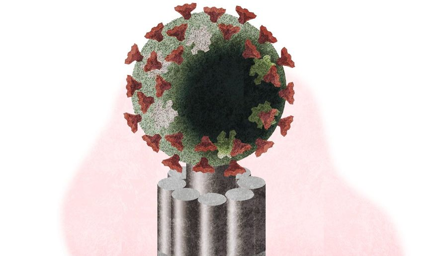 Illustration on government authoritarianism during the COVID-19 pandemic by Alexander Hunter/The Washington Times