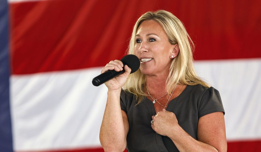 U.S. Rep. Marjorie Taylor Greene speaks during the 17th annual Floyd County GOP Rally at the Coosa Valley Fairgrounds on Saturday, Aug. 7, 2021, in Rome, Ga. (Troy Stolt/Chattanooga Times Free Press via AP) ** FILE **