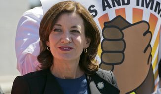 In this file photo, New York's Lt. Gov. Kathy Hochul attends a May Day pro-labor and immigration rights rally, May 1, 2018, in New York. Ms. Hochul will assume the office of governor upon Gov. Andrew Cuomo's resignation, effective Aug. 24, 2021. (AP Photo/Mark Lennihan, File)