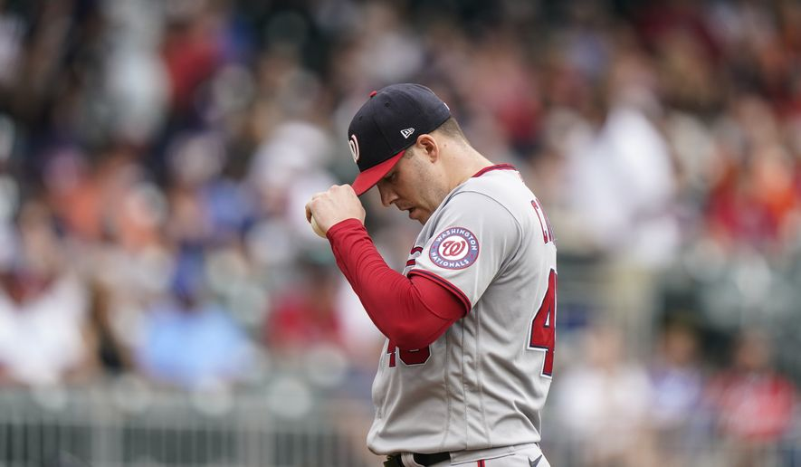 Washington Nationals starting pitcher Patrick Corbin (46) in the inning of a baseball game against the Sunday, Aug. 8, 2021, in Atlanta. (AP Photo/Brynn Anderson)