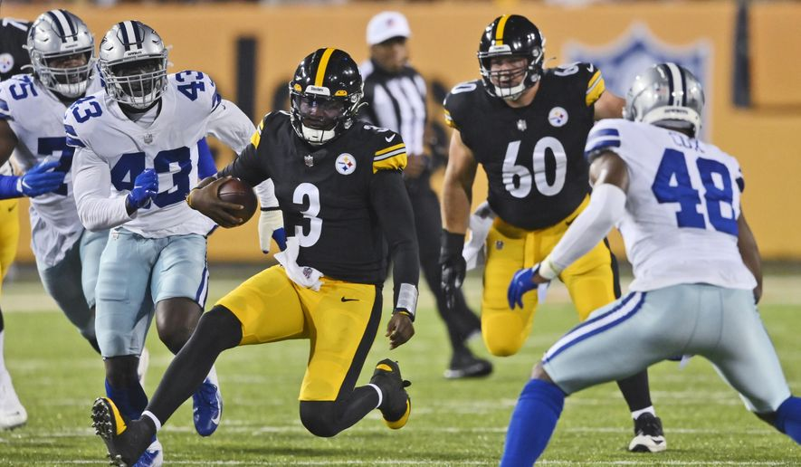 Pittsburgh Steelers quarterback Dwayne Haskins (3) rushes against the Dallas Cowboys during the first half of the Pro Football Hall of Fame NFL preseason game Thursday, Aug. 5, 2021, in Canton, Ohio. (AP Photo/David Richard) **FILE**