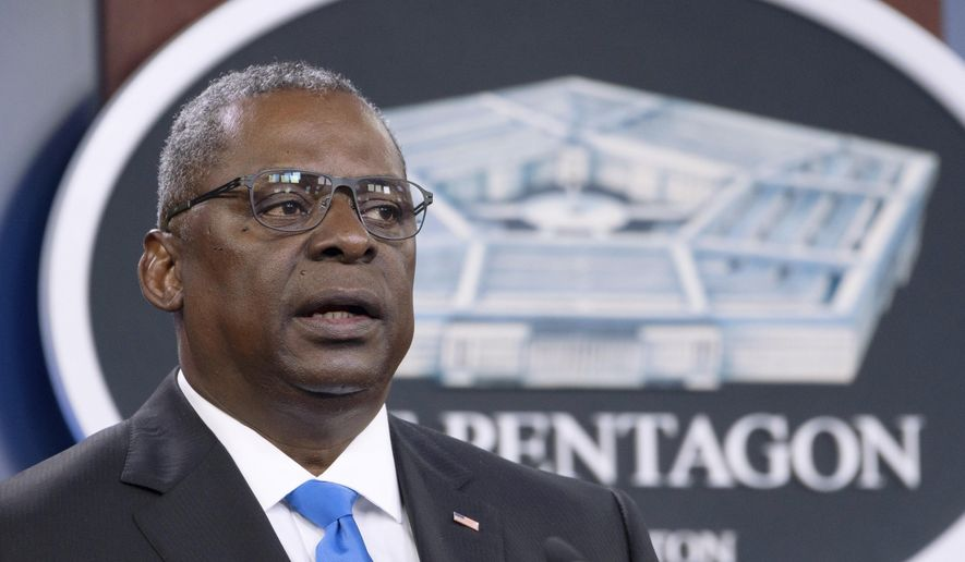 In this July 21, 2021, file photo, Defense Secretary Lloyd Austin speaks at a press briefing at the Pentagon in Washington. (AP Photo/Kevin Wolf) ** FILE **