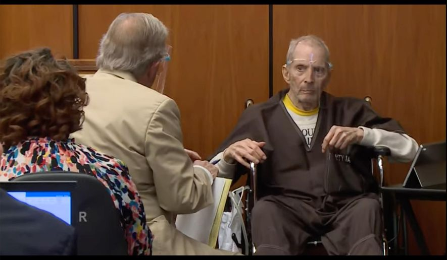 In this still image taken from the Law & Crime Network court video, real estate heir Robert Durst, right, describes what ailments he has to defense attorney Dick Deguerin during his murder trial on Monday, Aug. 9, 2021, in Los Angeles County Superior Court in Inglewood, Calif. (Law & Crime Network via AP, Pool)