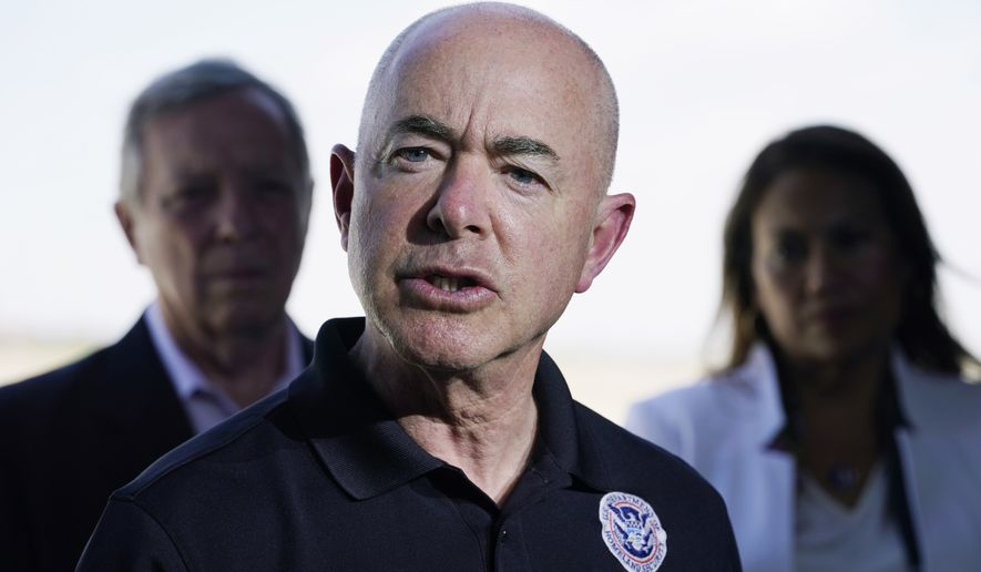 In this June 25, 2021, photo, Homeland Security Secretary Alejandro Mayorkas talks to the media after he and Vice President Kamala Harris toured of the U.S. Customs and Border Protection Central Processing Center in El Paso, Texas. (AP Photo/Jacquelyn Martin) **FILE**