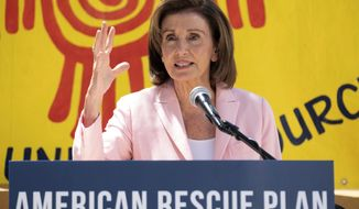 House Speaker Nancy Pelosi speaks at a press event in San Francisco, Tuesday, Aug. 10, 2021.  (AP Photo/Nick Otto)