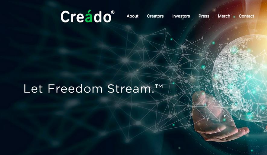 The website for Creado is shown here in this Aug. 10, 2021 screen capture from the company's website. (https://creado.media/)