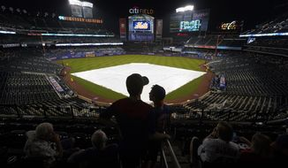 Fans wait in the stands after a rain delay was called during a baseball game between the New York Mets and the Washington Nationals, Tuesday, Aug. 10, 2021, in New York. (AP Photo/Mary Altaffer)