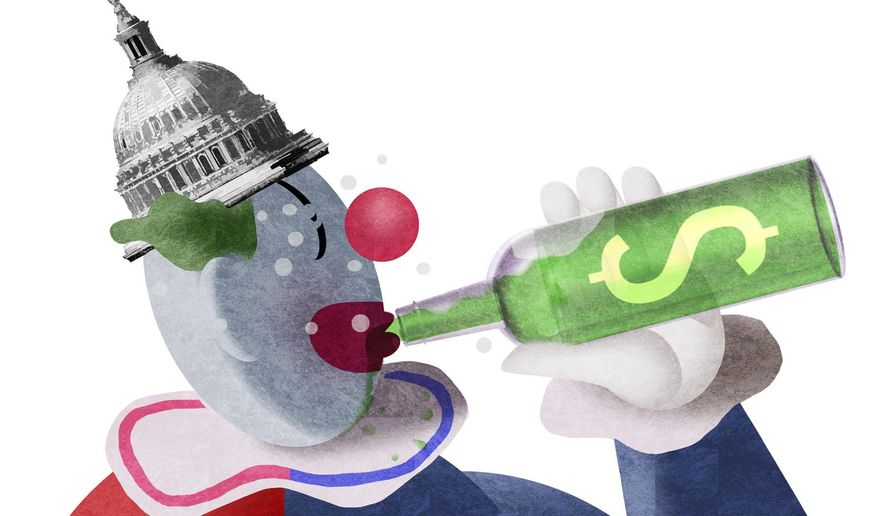 Illustration on Democrats and congressional spending by Alexander Hunter/The Washington Times