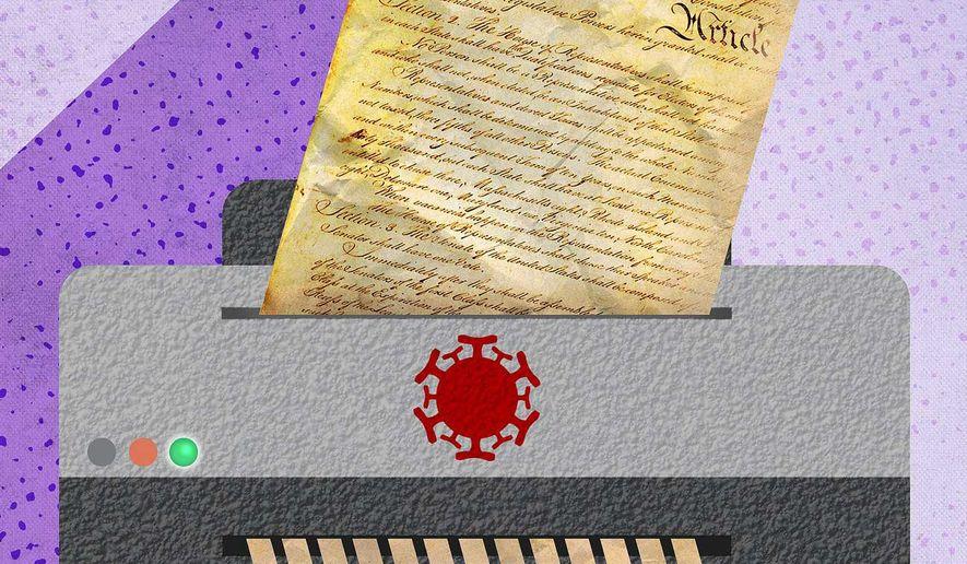 Coronavirus Shredding the Constitution Illustration by Greg Groesch/The Washington Times