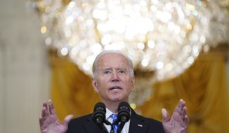 """President Joe Biden speaks about his """"Build Back Better"""" agenda from the East Room of the White House, Wednesday, Aug. 11, 2021, in Washington. (AP Photo/Evan Vucci)"""