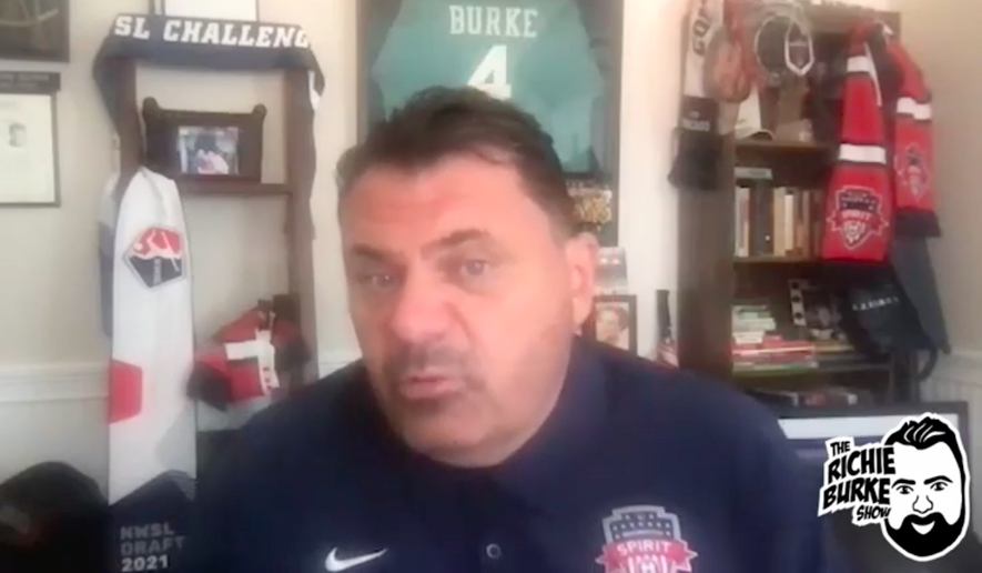 Former Washington Spirit head coach Richie Burke, shown here in a screen capture from the July 2, 2021 episode of his eponymous YouTube program, has been placed on administrative leave amid reports he verbally abused players on the professional women's soccer team. (YouTube.com; Washington Spirit)   [https://www.youtube.com/watch?v=Rch2KVI9SII]