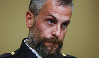 Washington Metropolitan Police Department Officer Michael Fanone testifies during a House Select Committee hearing on the Jan. 6 attack on Capitol Hill in Washington, Tuesday, July 27, 2021. (Jim Bourg/Pool via AP) **FILE**