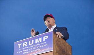 Donald Trump speaks to a crowd of 30,000 during a massive rally in Mobile, Alabama on Aug. 21. 2015. (AP Photo) **FILE**