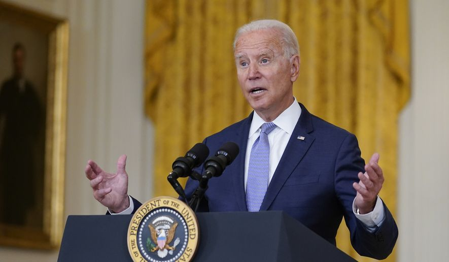 """President Joe Biden speaks about prescription drug prices and his """"Build Back Better"""" agenda from the East Room of the White House, Thursday, Aug. 12, 2021, in Washington. (AP Photo/Evan Vucci)"""