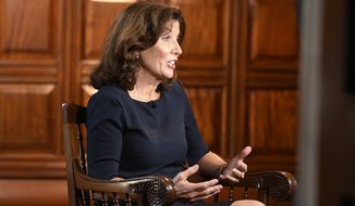 """New York Lt. Gov. Kathy Hochul takes part in a remote interview on NBC's """"Today"""" show with Savannah Guthrie from her office at the state Capitol Thursday, Aug. 12, 2021, in Albany, N.Y. (AP Photo/Hans Pennink)"""