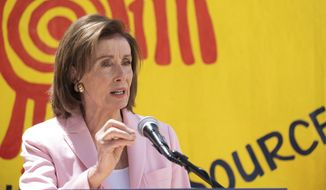 House Speaker Nancy Pelosi speaks at a press event regarding the Emergency Rental Assistance program in San Francisco, Tuesday, Aug. 10, 2021. The program makes federal funding available to assist pandemic-affected rental households with rent, back-rent, and utility payments. (AP Photo/Nick Otto) **FILE**