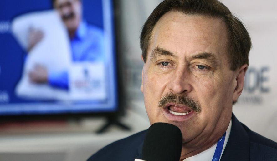Founder and CEO of MyPillow Mike Lindell gives an interview with Right Side Broadcasting Network at the Conservative Political Action Conference in Orlando, Fla., on Feb. 28, 2021. (Sam Thomas/Orlando Sentinel via AP, File)