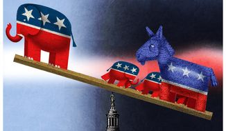 Illustration on the recent Senate infrastructure vote by Alexander Hunter/The Washington Times