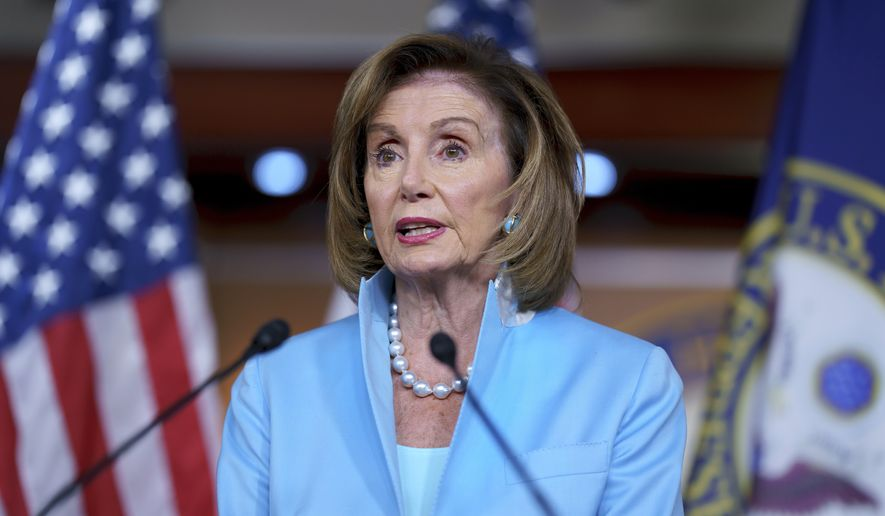 In this Aug. 6, 2021, file photo, Speaker of the House Nancy Pelosi, D-Calif., meets with reporters at the Capitol in Washington. (AP Photo/J. Scott Applewhite, File)
