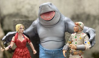 """Harley Quinn and Polka-Dot Man get chummy with King Shark in McFarlane Toys' DC Multiverse action figure collection based on """"The Suicide Squad"""" live action movie. (Photograph by Joseph Szadkowski / The Washington Times)"""