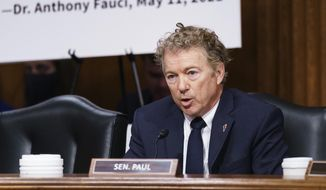 Sen. Rand Paul, R-Ky., is shown asking questions during a committee hearing on Capitol Hill in Washington, D.C., in this Tuesday, July 20, 2021 file photo. (AP Photo/J. Scott Applewhite, Pool, File)  **FILE**