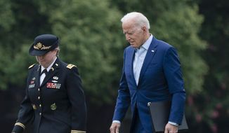 President Joe Biden arrives at Fort Lesley J. McNair in Washington in Washington, Monday, Aug. 16, 2021. Biden will address the nation on Monday about the U.S. evacuation from Afghanistan, after the planned withdrawal of American forces turned deadly at Kabul's airport as thousands tried to flee the country after the Taliban's takeover. (AP Photo/Manuel Balce Ceneta)