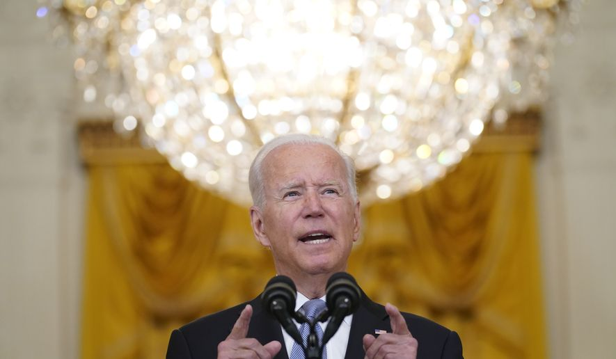 President Joe Biden speaks about Afghanistan from the East Room of the White House, Monday, Aug. 16, 2021, in Washington. (AP Photo/Evan Vucci)