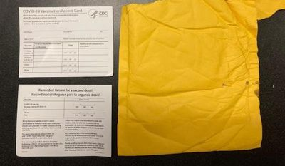 An example of counterfeit COVID-19 vaccination cards recently seized by U.S. Customs and Border Protection officers in Memphis, Tenn. (Photo courtesy of U.S. Customs and Border Protection)