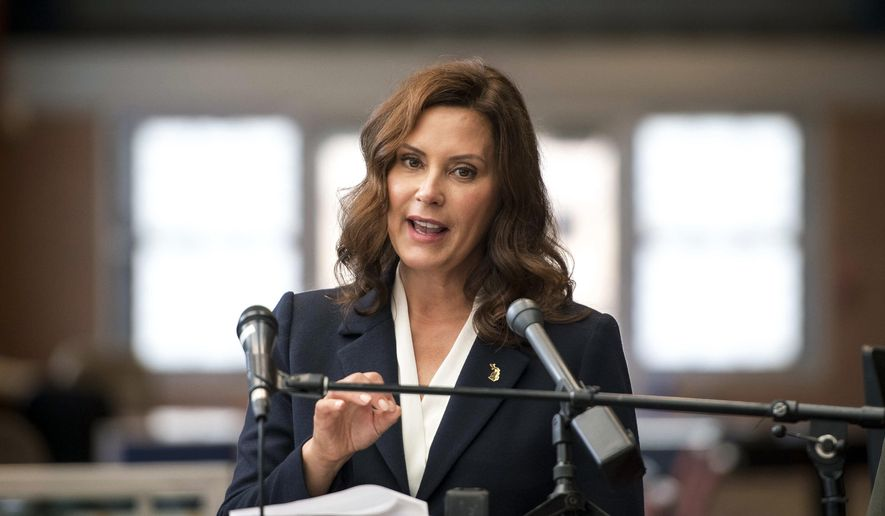 Gov. Gretchen Whitmer speaks during a news conference at Farwell Recreation Center, Monday, Aug. 16, 2021, in Detroit. (Nic Antaya/Detroit News via AP) ** FILE **