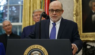 Fox News host and syndicated radio talent Mark Levin speaks at the White House during a ceremony to present the Presidential Medal of Freedom to former Attorney General Edwin Meese on Oct. 8, 2019, in the White House. (AP Photo/Alex Brandon)