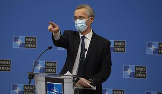 In this Thursday, Feb. 18, 2021, file photo, NATO Secretary-General Jens Stoltenberg wears a protective face mask as he prepares to speak during a media conference at NATO headquarters in Brussels. Stoltenberg on Tuesday, Aug. 17, 2021, blamed a failure of Afghan leadership for the swift collapse of the country's Western-backed armed forces, but he conceded that the alliance must also address flaws in its military training program. (AP Photo/Virginia Mayo, Pool, File)