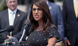 In this July 29, 2021, file photo, Rep. Lauren Boebert, R-Colo., speaks at a news conference held by members of the House Freedom Caucus on Capitol Hill in Washington. (AP Photo/Andrew Harnik, File)  **FILE**