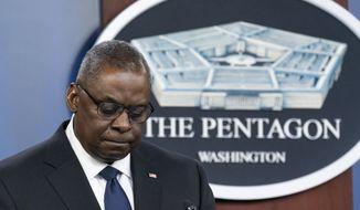 Secretary of Defense Lloyd Austin pauses while speaking during a media briefing at the Pentagon, Wednesday, Aug. 18, 2021, in Washington. (AP Photo/Alex Brandon)