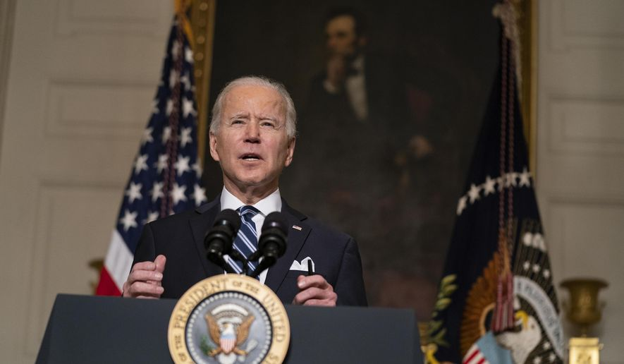 One week in office: President Joe Biden delivers remarks on climate change and green jobs, in the State Dining Room of the White House, Wednesday, Jan. 27, 2021, in Washington. (AP Photo/Evan Vucci)