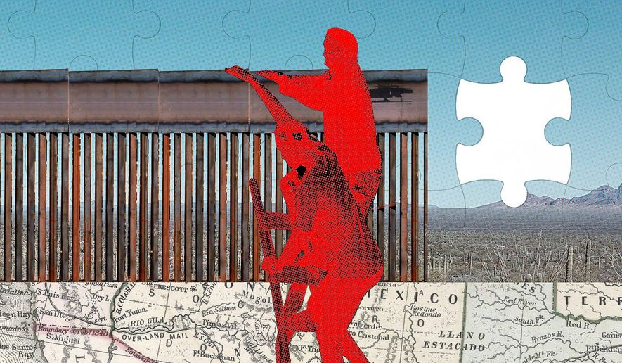 Illustration on the need for border security by Linas Garsys/The Washington Times