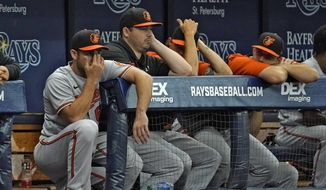 Baltimore Orioles catcher Austin Wynns, left, and other members of the team look out of the dugout during the seventh inning of a baseball game Thursday, Aug. 19, 2021, in St. Petersburg, Fla. (AP Photo/Chris O'Meara)