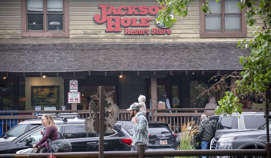 This Aug. 18, 2021 shows the Jackson Hole Resort Store downtown Jackson, Wyo. The outdoor clothing and gear company Patagonia has decided to quit supplying Jackson Hole Mountain Resort with its products, fallout from the resort owner Jay Kemmerer's support of the House Freedom Caucus. The resort, which is Patagonia's largest single customer in the Jackson Hole area, operates retail stores in Teton Village and the town of Jackson. The outdoor gear and clothing company Patagonia has stopped providing its merchandise for sale at a Wyoming ski resort to protest the owners' sponsorship of a Republican fundraiser featuring Marjorie Taylor Greene and other core supporters of former President Donald Trump. (Bradly J. Boner/Jackson Hole News & Guide via AP)