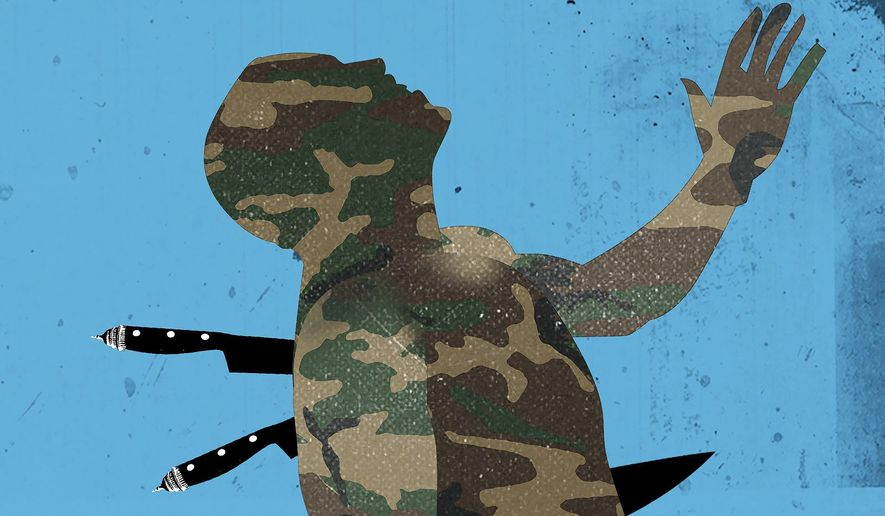 Illustration on betrayal in Afghanistan by Linas Garsys/The Washington Times