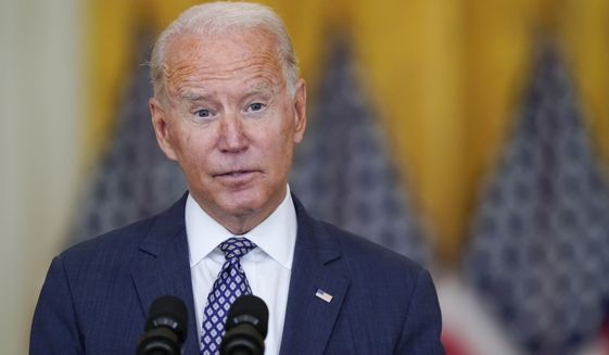 President Joe Biden answers questions from members of the media as he speaks about the evacuation of American citizens, their families, SIV applicants and vulnerable Afghans in the East Room of the White House, Friday, Aug. 20, 2021, in Washington. (AP Photo/Manuel Balce Ceneta)