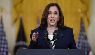 In this Aug. 10, 2021, file photo, Vice President Kamala Harris speaks from the East Room of the White House in Washington. The Taliban takeover of Afghanistan has given new urgency to Harris' tour of southeast Asia, where she will attempt to reassure allies of American resolve following the chaotic end of a two-decade war. (AP Photo/Evan Vucci, File)