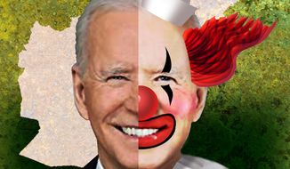 Illustration on Biden and Afghanistan by Alexander Hunter/The Washington Times