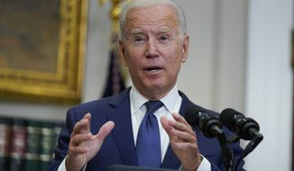 President Joe Biden answers a question from a reporter about the situation in Afghanistan as he speaks in the Roosevelt Room of the White House, Sunday, Aug. 22, 2021, in Washington. (AP Photo/Manuel Balce Ceneta)