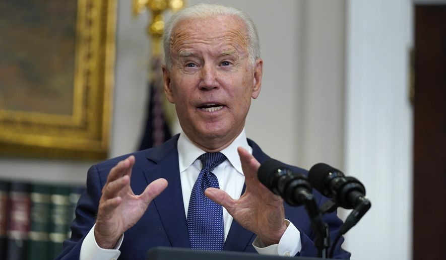 President Joe Biden speaks about the situation in Afghanistan in the Roosevelt Room of the White House, Sunday, Aug. 22, 2021, in Washington. (AP Photo/Manuel Balce Ceneta)