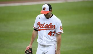 Baltimore Orioles starting pitcher John Means walks back to the dugout after he was pulled from a baseball game during the seventh inning against the Atlanta Braves, Sunday, Aug. 22, 2021, in Baltimore. (AP Photo/Nick Wass)