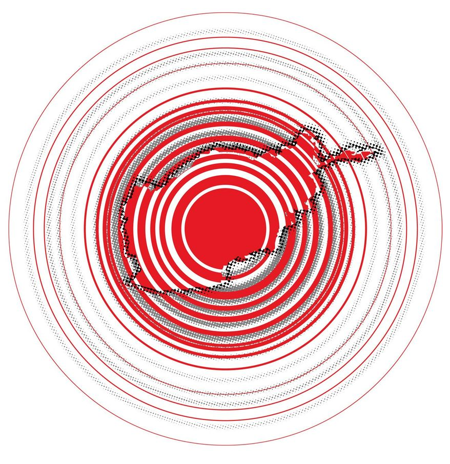 Illustration on Afghanistan's ripple effect by Linas Garsys/The Washington Times