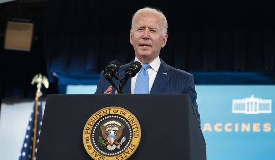 President Joe Biden delivers remarks on the full FDA approval of the Pfizer-BioNTech coronavirus vaccine, in the South Court Auditorium on the White House campus, Monday, Aug. 23, 2021, in Washington. (AP Photo/Evan Vucci) **FILE**