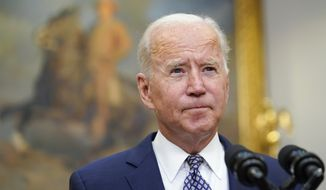 President Joe Biden speaks about the situation in Afghanistan from the Roosevelt Room of the White House in Washington, Tuesday, Aug. 24, 2021. (AP Photo/Susan Walsh) **FILE**